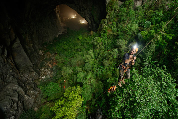 The lush green  jungle inside the cave