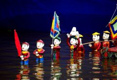 Water puppet show in Thang Long Water Puppet Theater