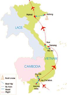 12-Day Vietnam Dream Tour - Map