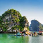 floating village near cat ba island