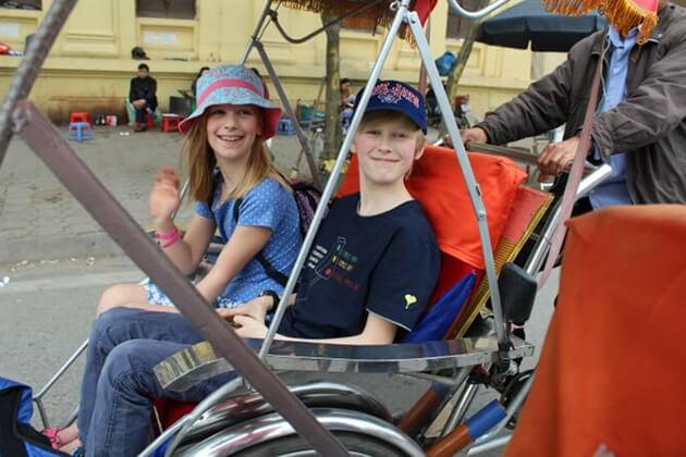 hanoi cyclo tour with kids