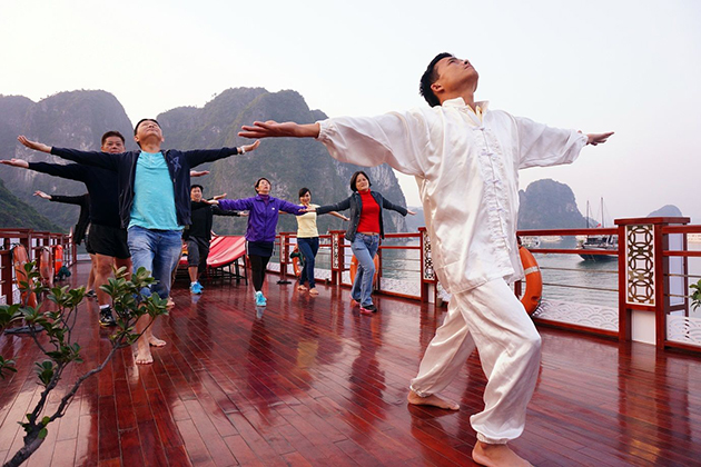 tai chi lesson halong bay 14 day vietnam family tour
