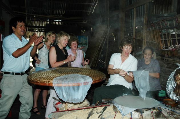 visit local workshop of making rice paper in mekong delta
