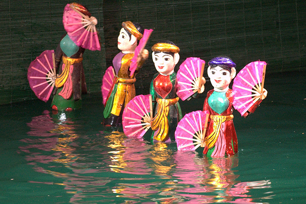 water puppet show in hanoi family tour