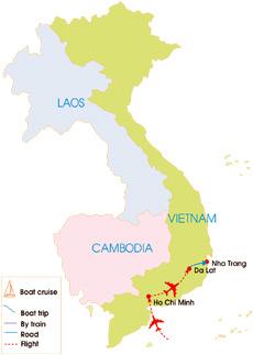 10-Day Sai Gon - Nha Trang & Dalat Romance Tour - Map