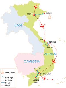 10-Day Taste Of Vietnam Tour - Map