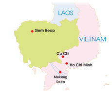 vietnam cambodia tour 5 days map