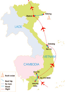 7-Day Vietnam Super Quick Tour - Map