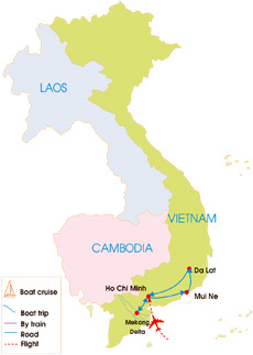 8-Day Southern Vietnam Highlight Tour - Map