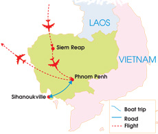 9-Day Cambodia Family Tour - Map