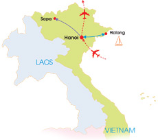 9-Day Wonderful North Vietnam - Map