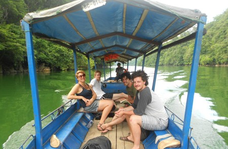 Boat trip in Ba Be Lake vietnam adventure tour