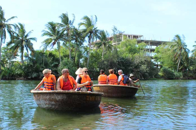 Enjoy a basket boat ride on Thu Bon River vietnam private tour discover in 10 days