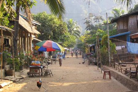 Main street in a rural village, MuongNgoy