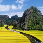 Panoramic view of Tam Coc classic vietnam tours