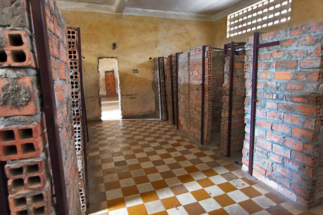 Prison block inside Tuol Sleng museum