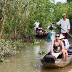 Sanpan ride through waterways of Mekong Delta