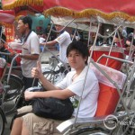 Student on the cyclo ride in Hanoi