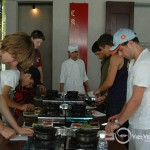 Teachers and student learn together at cooking class in Hoi An