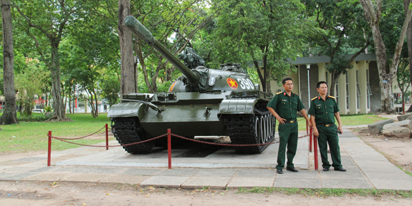The battle tank in Reunification Palace