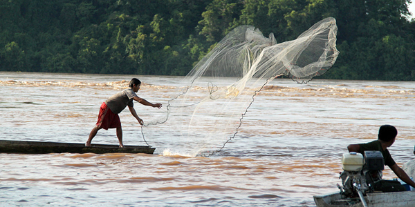 The locals catching fish in Mekong Delta