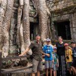 family at Ta Prohm temple