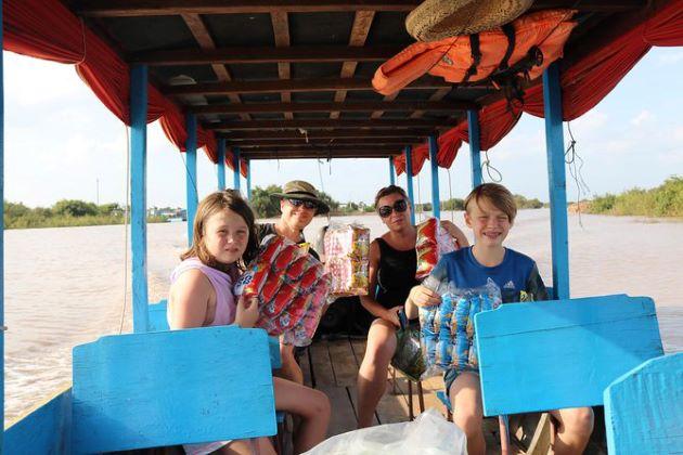 family at tonle sap lake