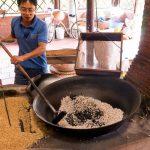 making pop rice in mekong delta