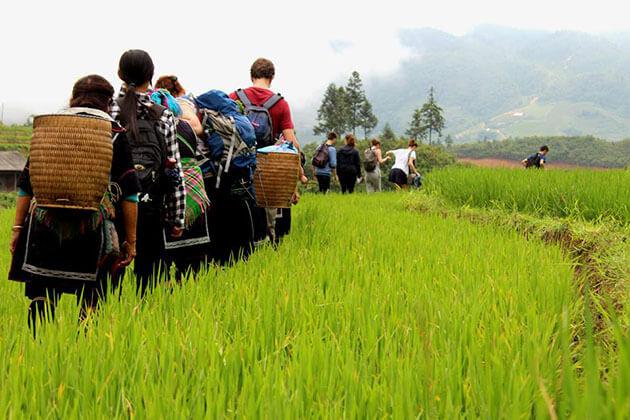sapa trekking tour in local village