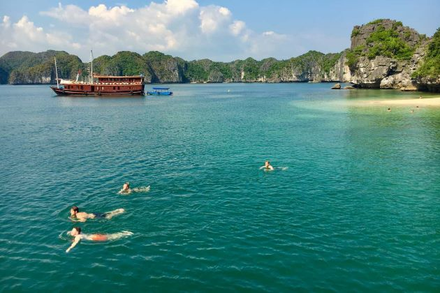 swimming at halong bay