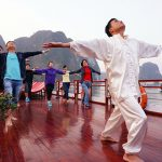 taichi lesson in the morning at Halong Bay