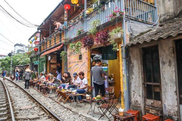the coffee shop at hanoi train street