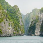 the limestone mountain at halong bay