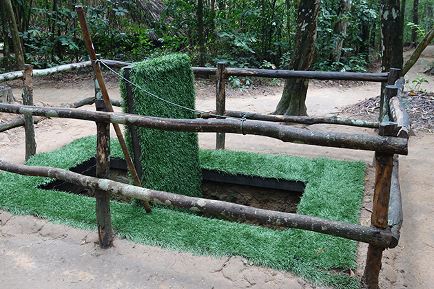 trap in cu chi tunnel tour from ho chi minh city