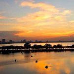 westlake in hanoi at the sunset