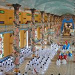 worshipping ceremony in cao dai temple in Tay Ninh