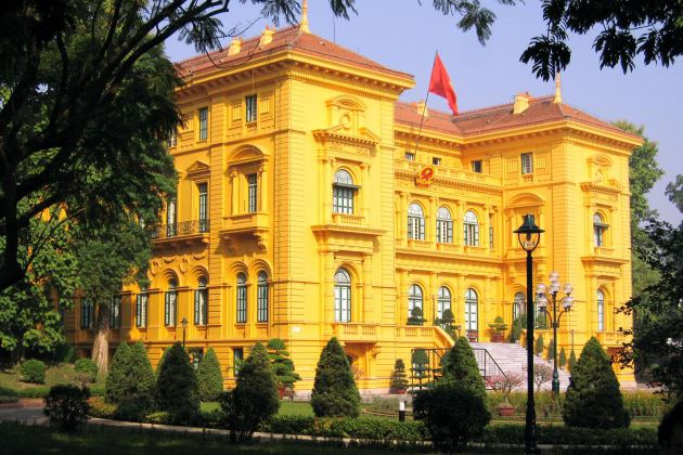 yellow presidental palace in hanoi