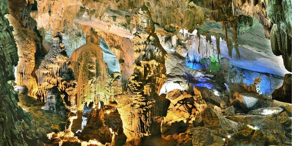 Stalagmites and stalactites in Phong Nha Cave