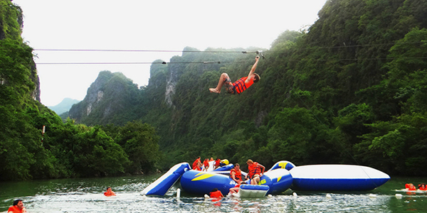 Zipline over Chay River near Dark Cave