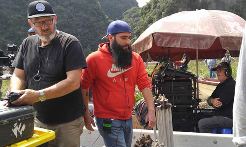 """Jordan Vogt-Roberts, the film director (the man in red) on the scene of """"Kong: Skull Island"""" on Friday 27/2."""
