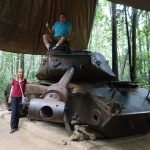 American battle tank in the tunnel of Cu Chi