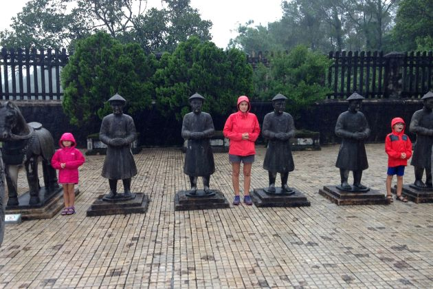 a family visit tu duc tomb in hue