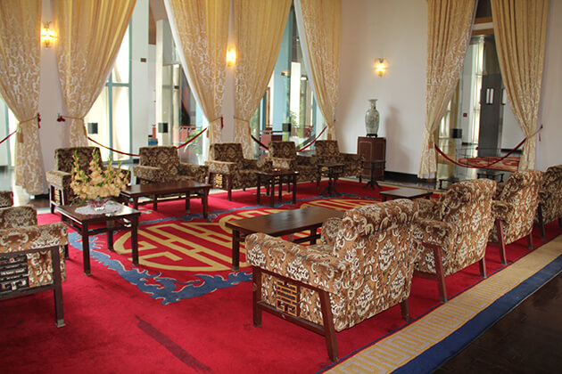 a room inside reunification palace in saigon