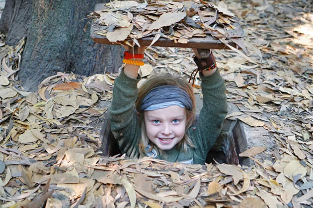 explore cu chi tunnel with kids