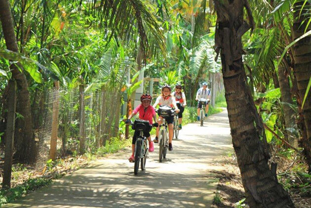 mekong delta cycling tour with kids