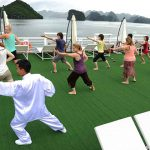 tai chi lesson in halong bay with family