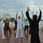 tai chi lesson in the morning at Halong Bay