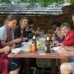 the family enjoys lunch in vietnam