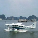 Seaplane landing in the water, Halong Bay