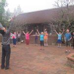 practice Yijinjing traditional exercises in moon garden homestay